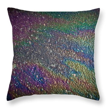 Oil Rainbow Throw Pillow