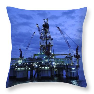 Oil Rig At Twilight Throw Pillow