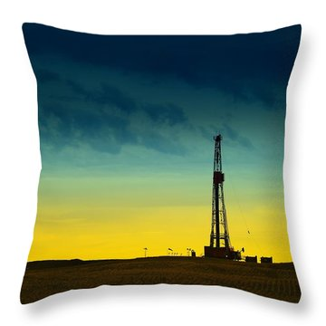 Oil Rig In The Spring Throw Pillow by Jeff Swan