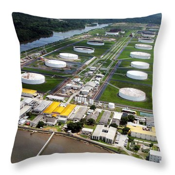 Oil Tank Farms  Throw Pillow