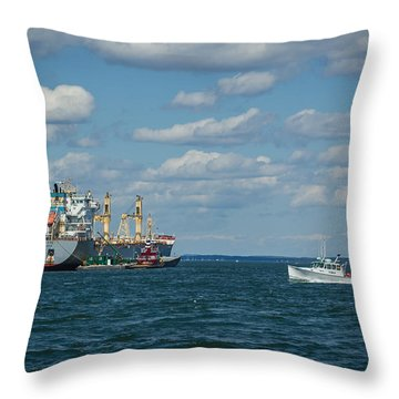 Throw Pillow featuring the photograph Oil Tanker And Lobster Boat by Jane Luxton