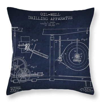 Oil Well Apparatus Patent From 1893 - Navy Blue Throw Pillow