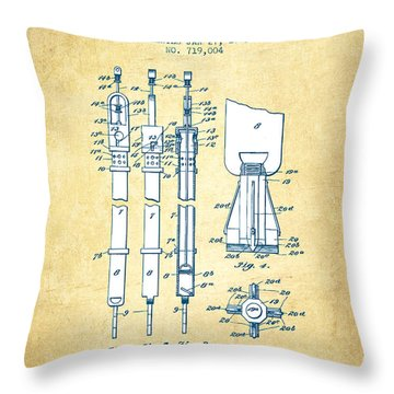 Oil Well Cleaner Patent From 1903 - Vintage Paper Throw Pillow