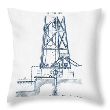 Oil Well Drill Patent From 1903 -  Blue Ink Throw Pillow