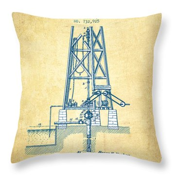 Oil Well Drill Patent From 1903 - Vintage Paper Throw Pillow