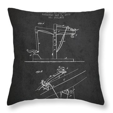 Oil Well Drilling Apparatus Patent From 1878 - Dark Throw Pillow
