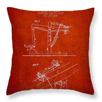 Oil Well Drilling Apparatus Patent From 1878 - Red Throw Pillow