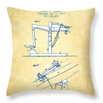 Oil Well Drilling Apparatus Patent From 1878 - Vintage Paper Throw Pillow