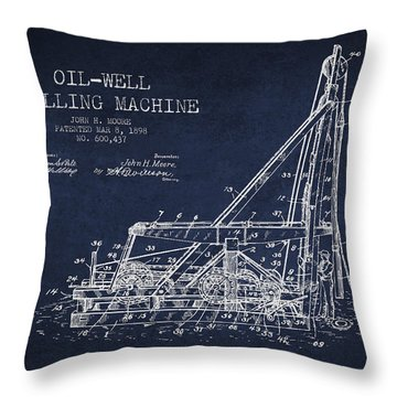 Oil Well Drilling Machine Patent From 1898 - Navy Blue Throw Pillow