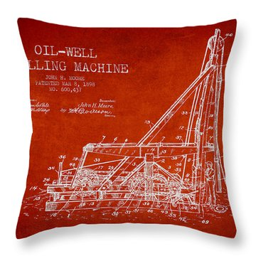 Oil Well Drilling Machine Patent From 1898 - Red Throw Pillow