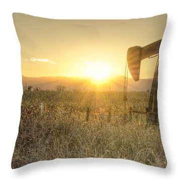Oil Well Pump Throw Pillow