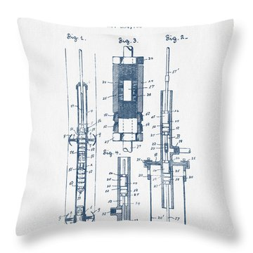 Oil Well Pump Patent From 1900 -  Blue Ink Throw Pillow