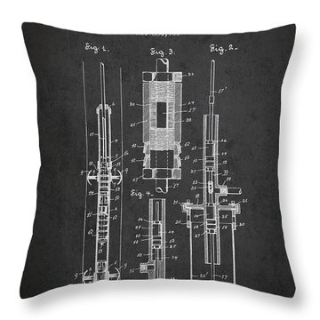 Oil Well Pump Patent From 1900 - Dark Throw Pillow