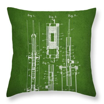 Oil Well Pump Patent From 1900 - Green Throw Pillow