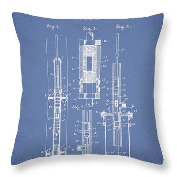 Oil Well Pump Patent From 1900 - Light Blue Throw Pillow
