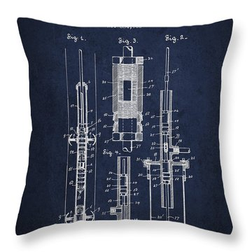 Oil Well Pump Patent From 1900 - Navy Blue Throw Pillow
