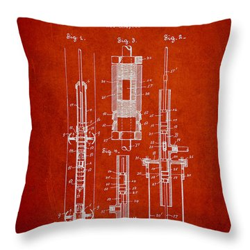 Oil Well Pump Patent From 1900 - Red Throw Pillow