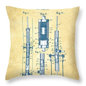 Oil Well Pump Patent From 1900 - Vintage Paper Throw Pillow