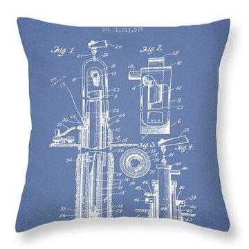 Oil Well Pump Patent From 1912 - Light Blue Throw Pillow