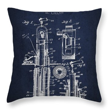 Oil Well Pump Patent From 1912 - Navy Blue Throw Pillow