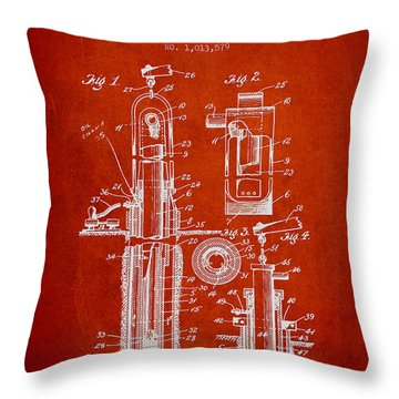 Oil Well Pump Patent From 1912 - Red Throw Pillow