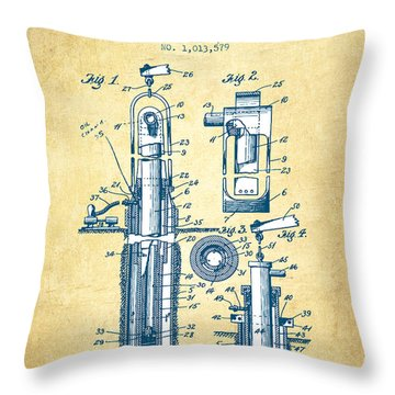 Oil Well Pump Patent From 1912 - Vintage Paper Throw Pillow