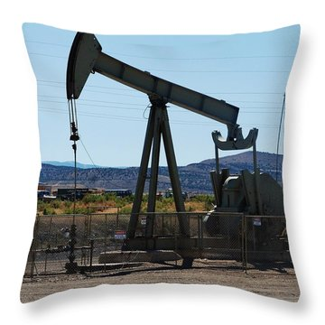Oil Well  Pumper Throw Pillow by Dany Lison