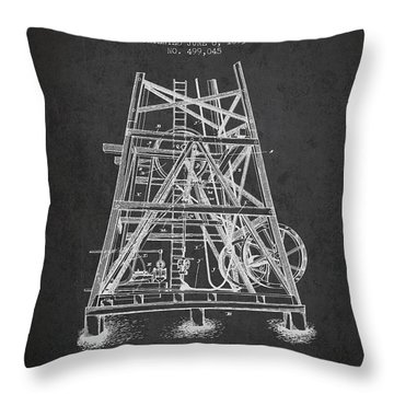 Oil Well Rig Patent From 1893 - Dark Throw Pillow by Aged Pixel