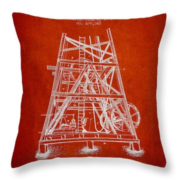 Oil Well Rig Patent From 1893 - Red Throw Pillow by Aged Pixel