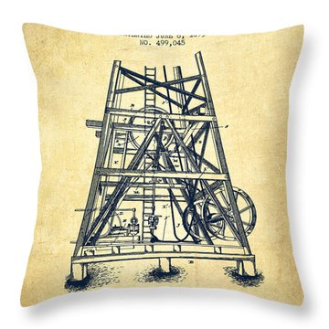 Oil Well Rig Patent From 1893 - Vintage Throw Pillow by Aged Pixel