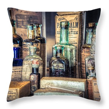 Throw Pillow featuring the photograph Ointments Tonics And Potions - A 19th Century Apothecary by Gary Heller