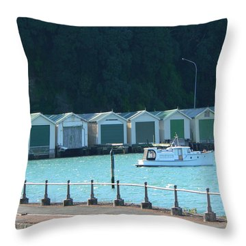 Okahu Bay Historic Boat Sheds Auckland Throw Pillow