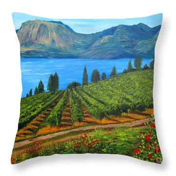 Okanagan Vineyard Throw Pillow