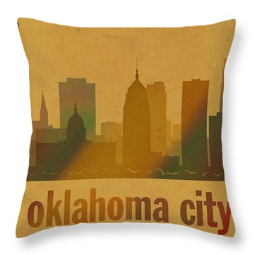 Oklahoma City Skyline Watercolor On Parchment Throw Pillow