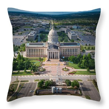 Oklahoma City State Capitol Building A Throw Pillow by Cooper Ross