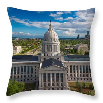 Oklahoma City State Capitol Building B Throw Pillow by Cooper Ross