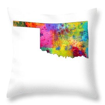 Oklahoma Map Throw Pillow