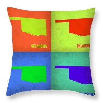 Oklahoma Pop Art Map 1 Throw Pillow by Naxart Studio