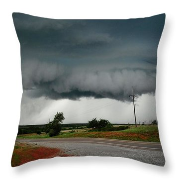 Throw Pillow featuring the photograph Oklahoma Wall Cloud by Ed Sweeney