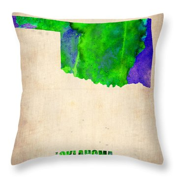 Oklahoma Watercolor Map Throw Pillow by Naxart Studio