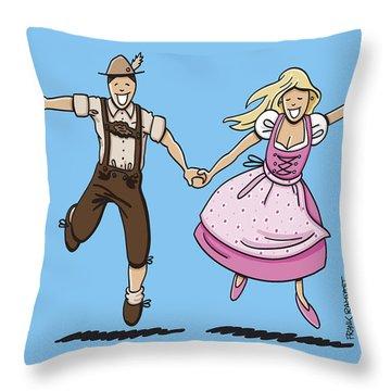 Oktoberfest Couple Dancing Together Throw Pillow by Frank Ramspott
