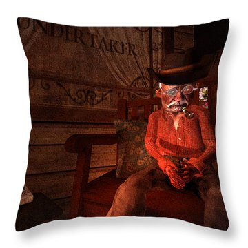 Ol' Ben Waiting For The Undertaker Throw Pillow by Kylie Sabra