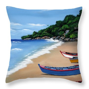 Olas De Crashboat Throw Pillow by Luis F Rodriguez