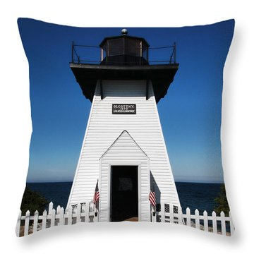 Throw Pillow featuring the photograph Olcott Ny Lighthouse - Replica by John Freidenberg