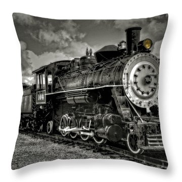 Old 104 Steam Engine Locomotive Throw Pillow