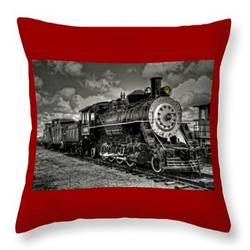 Old 104 Steam Engine Locomotive Throw Pillow