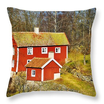 Old 17th Century Cottage Set In Rural Nature Landscape Throw Pillow by Christian Lagereek