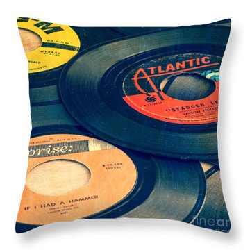 Old 45 Records Square Format Throw Pillow