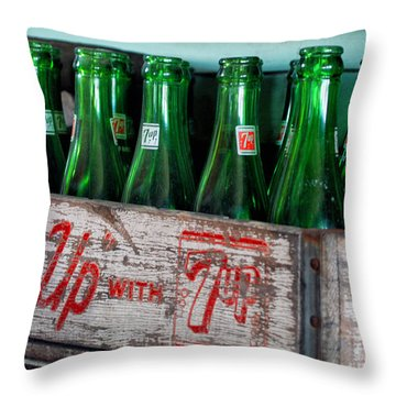 Old 7 Up Bottles Throw Pillow by Thomas Woolworth