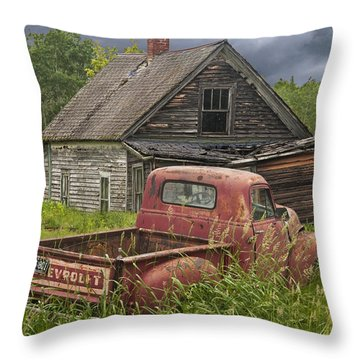 Old Abandoned Homestead And Truck Throw Pillow